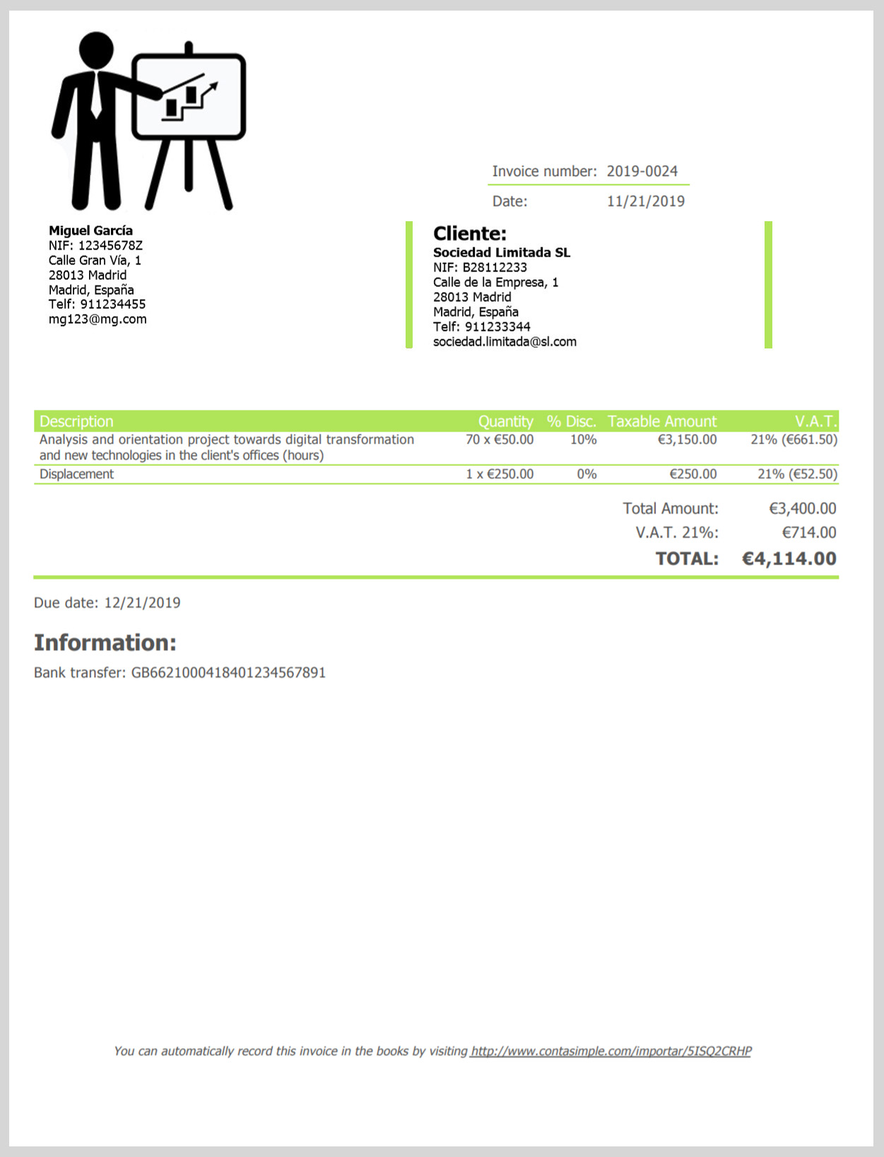 Consulting invoice