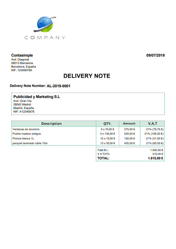 Delivery notes template 1