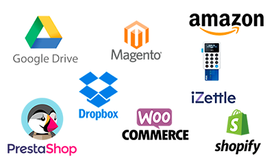 Integra Prestashop, Dropbox, iZettle and other more platforms with Contasimple