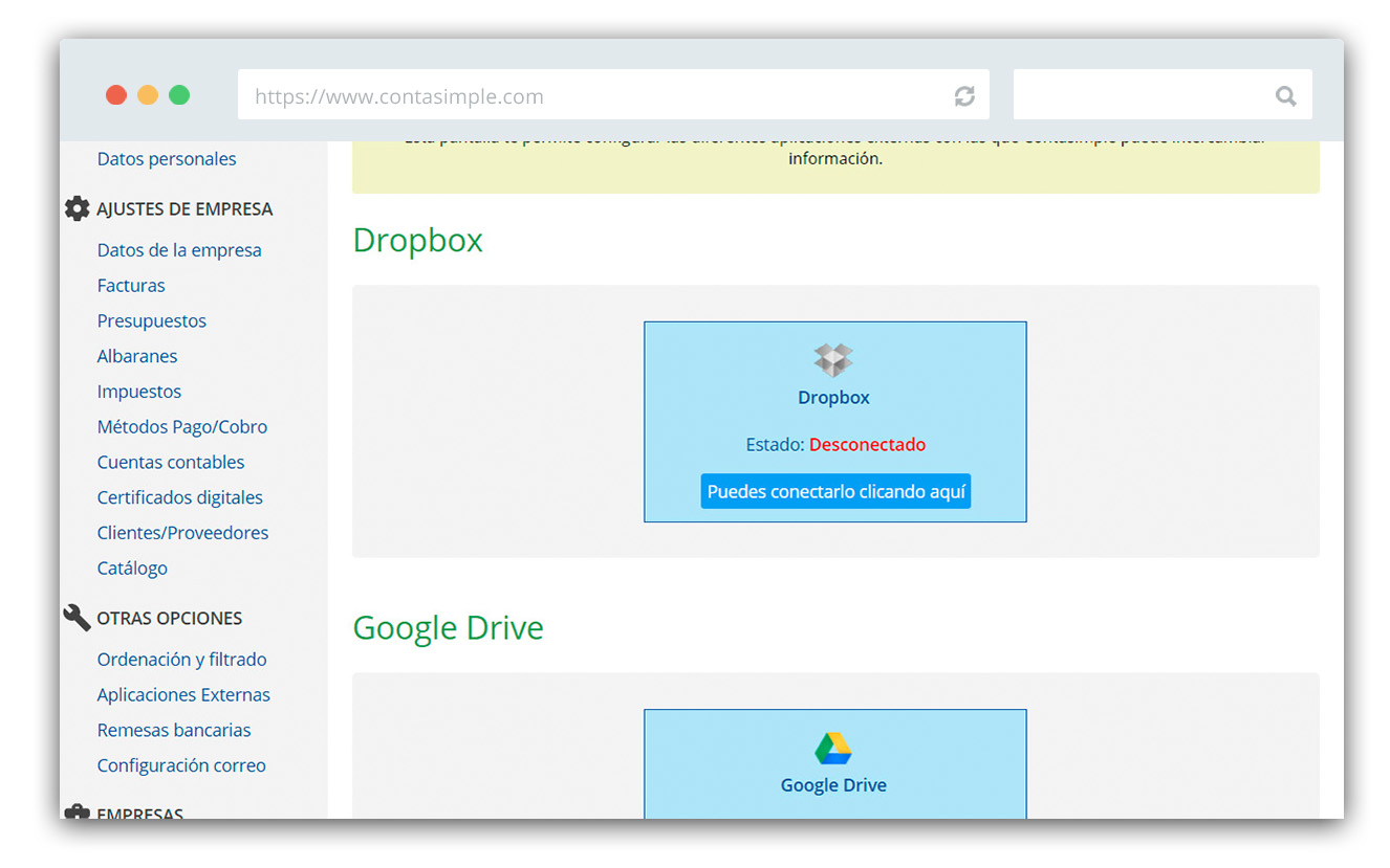Dropbox configuration screen