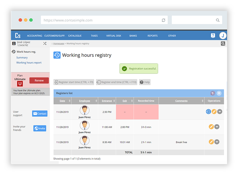 Working hours registry software