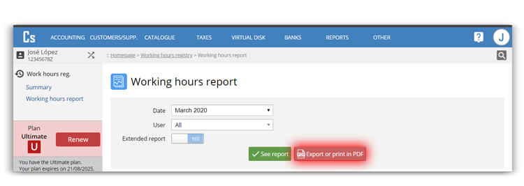 Export of time control report of your workers